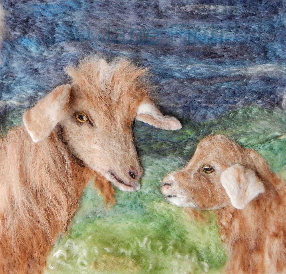 Needle felted Golden Guernsey nanny and kid portrait