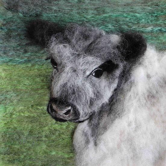 Fibre art White Galloway cow portrait