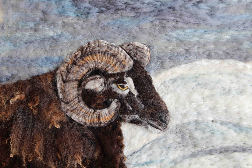 Soay ram fibre art portrait