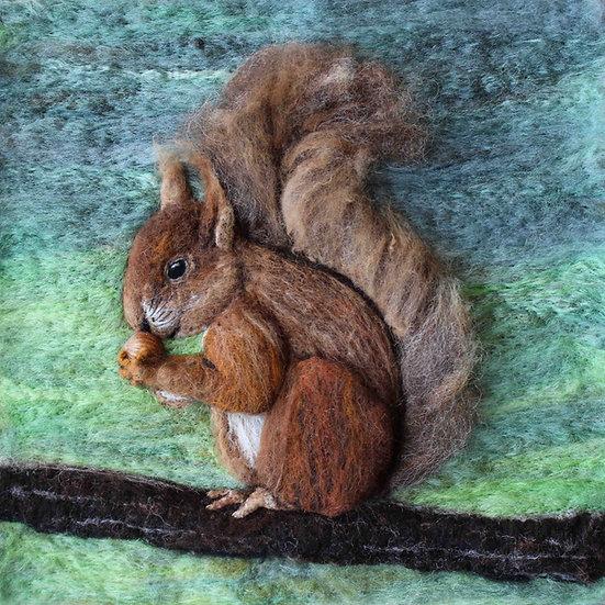 Fibre art portrait of a young red squirrel
