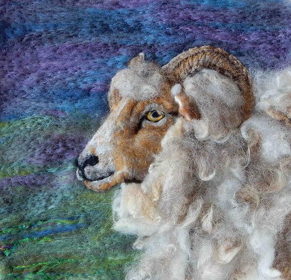 Portland ewe fibre art portrait