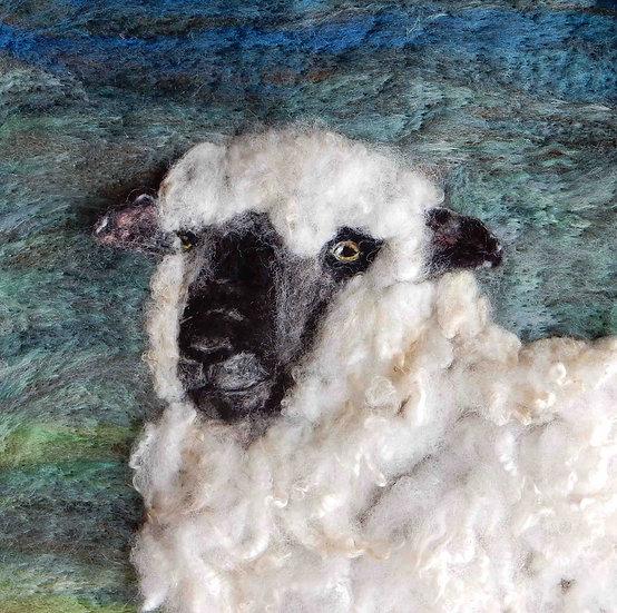 Fibre art Oxford Down sheep portrait