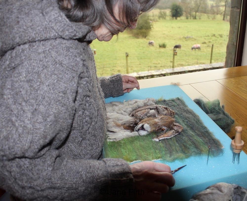 Jane Firth needle felting a North Ronaldsay ram