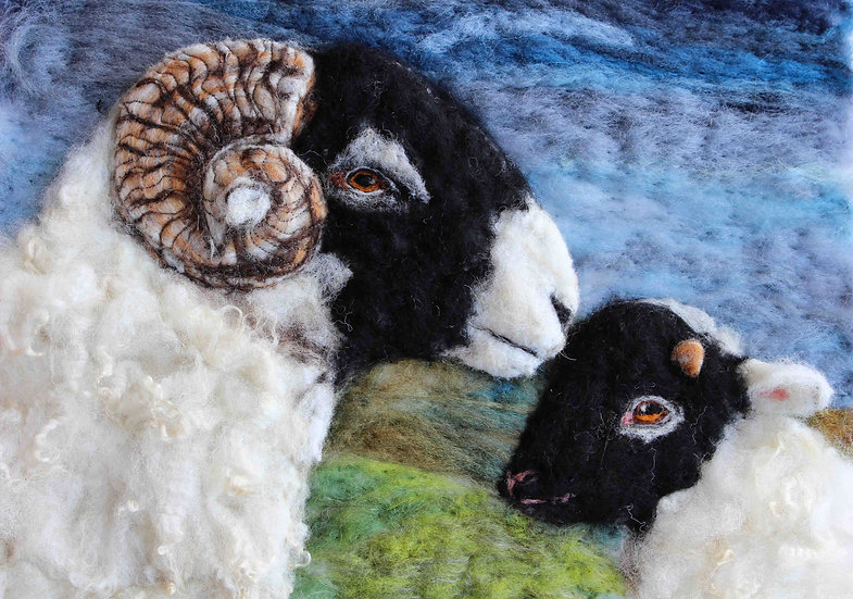 Swaledale ewe and lamb greetings card