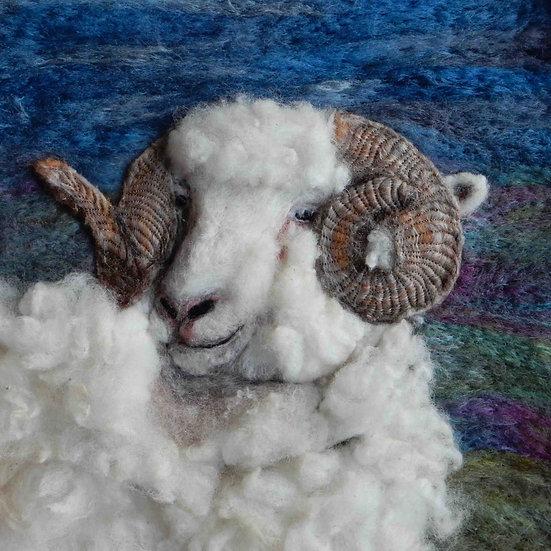 Fibre art Dorset Horn sheep portrait