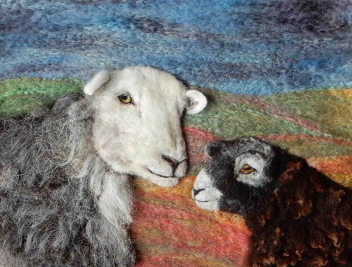 Herdwick ewe and lamb fibre art portrait, photographed on Watermillock common