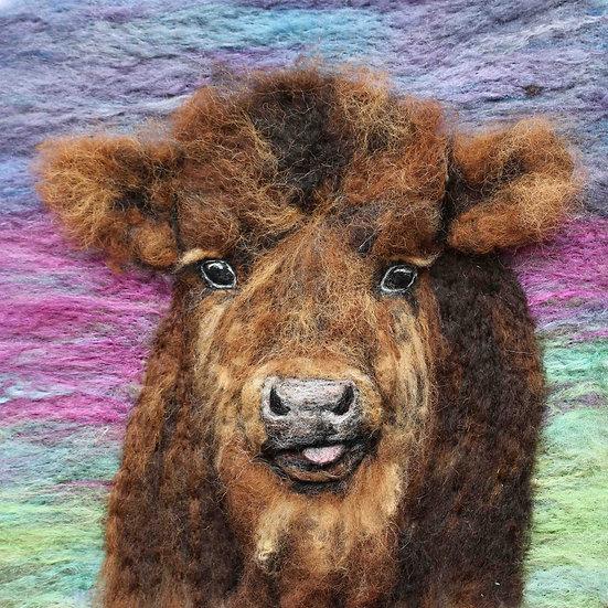 Fibre art portrait of a Highland calf