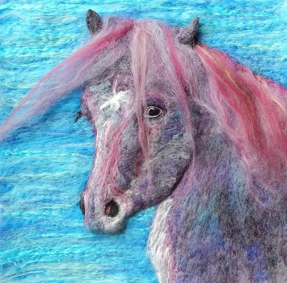 Coloured Fell pony portrait