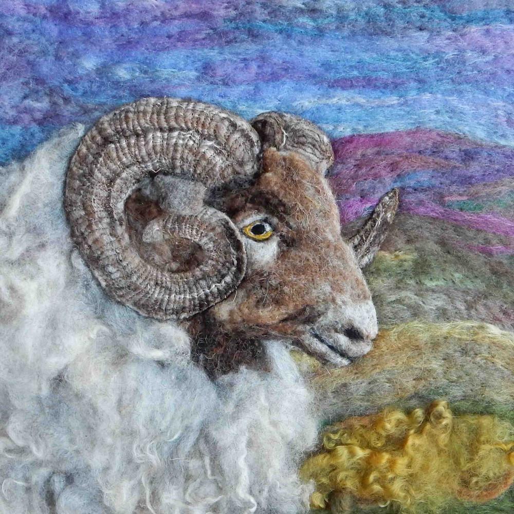 North Ronaldsay needle felt sheep portrait created fo British Fibre Art magazine article