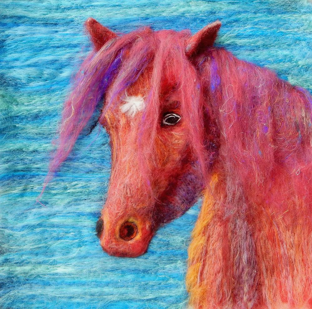 Needle felted Kaleidoscope Fell pony portrait 3