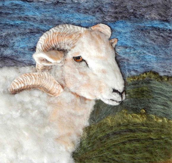 Portland ram fibre art portrait