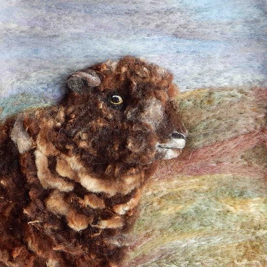 Coloured Ryeland fibre art sheep portrait