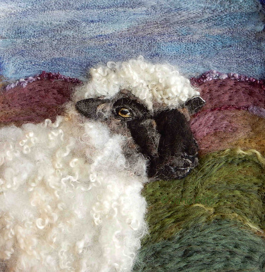 Oxford down fibre art sheep portrait