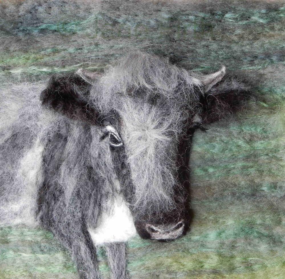 Fibre art portrait of Alice the Albion cow, Cotswold Farm park