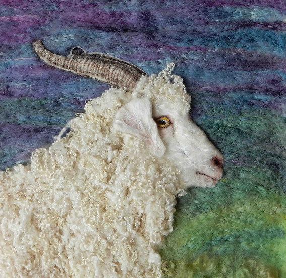 Angora goat fibre art portrait