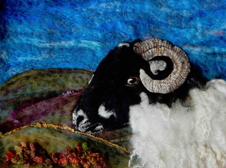 Dalesbred fibre art sheep portrait