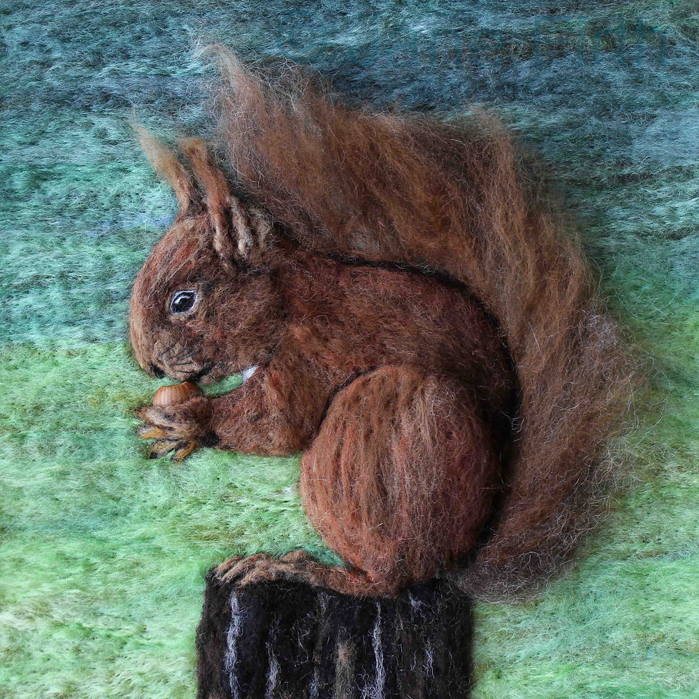 """Fibre art red squirrel portrait in classic """"shade tail"""" pose"""