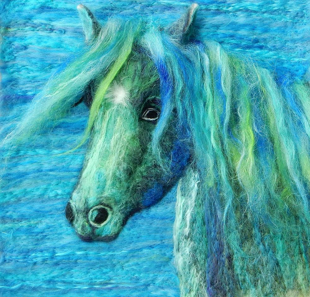Needle felted Kaleidoscope Fell pony  portrait