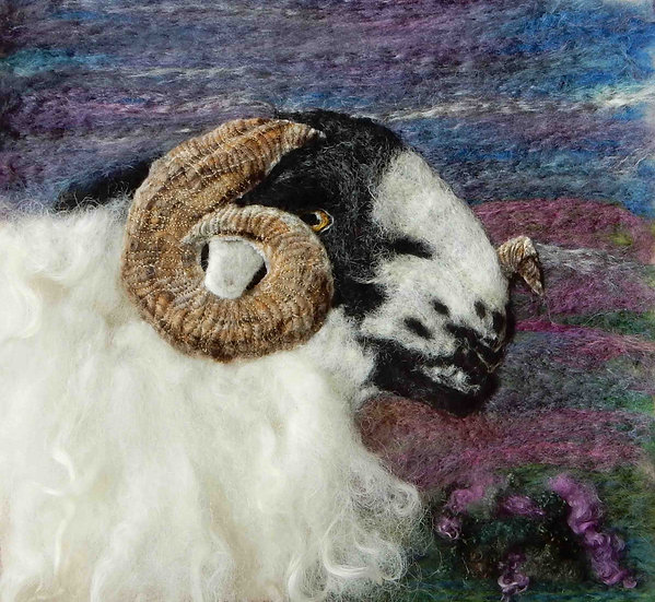Fibre art Rough Fell ram portrait