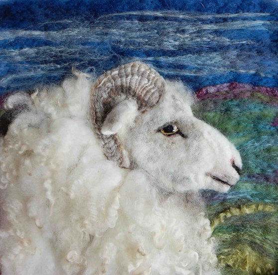 Foula fibre art sheep portrait