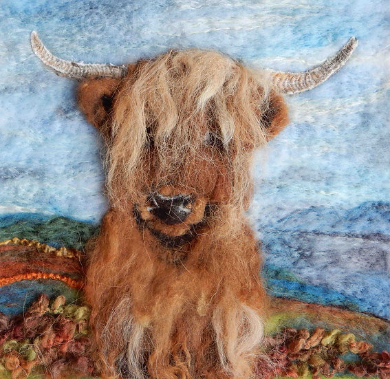 Highland cow fibre art portrait