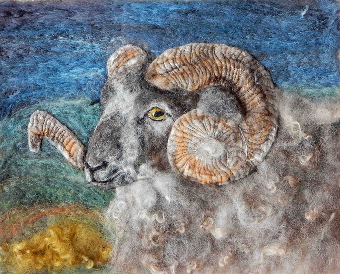 Boreray ram fibre art portrait