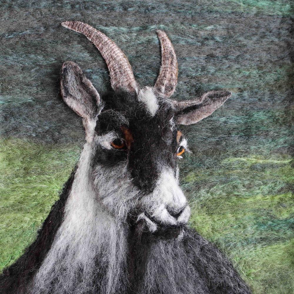 Fibre art Old English Goat Portrait
