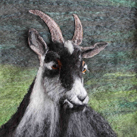 Fibre art Old English Goat portrait