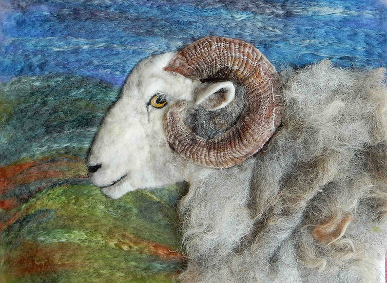 Fibre art sheep Herdwick ram portrait
