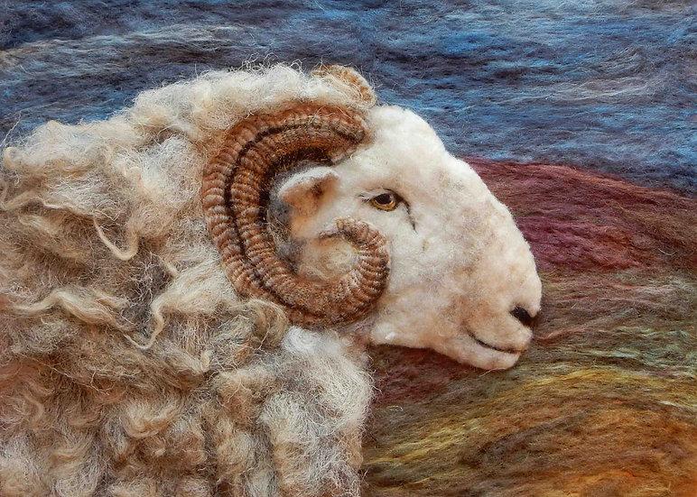 Fibre art Herdwick ram needle felted with Herdwick wool