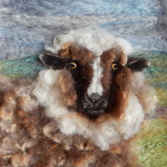 Xalda fibre art sheep portrait