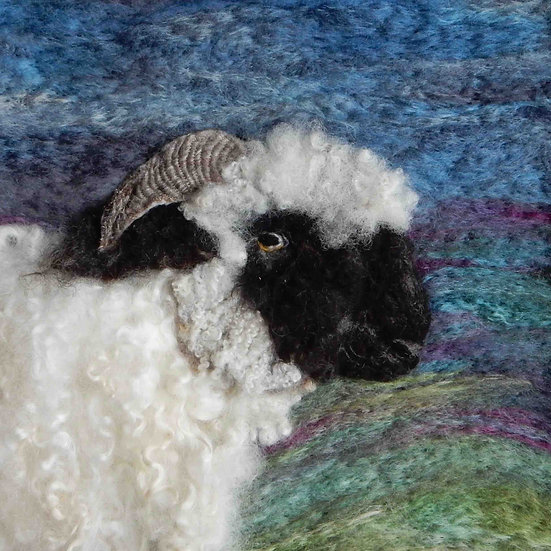 Valais Blacknose fibre art sheep portrait