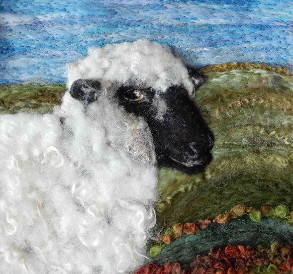 Shropshire sheep fibre art portrait