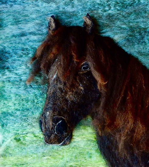 Fibre art Fell pony portrait
