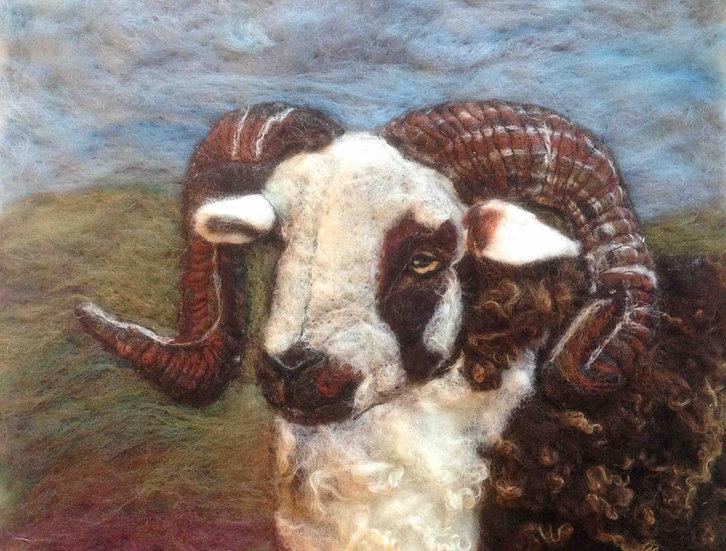 Jacob sheep fibre art portait