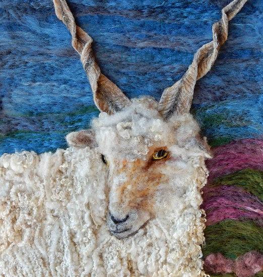 Racka fibre art sheep portrait