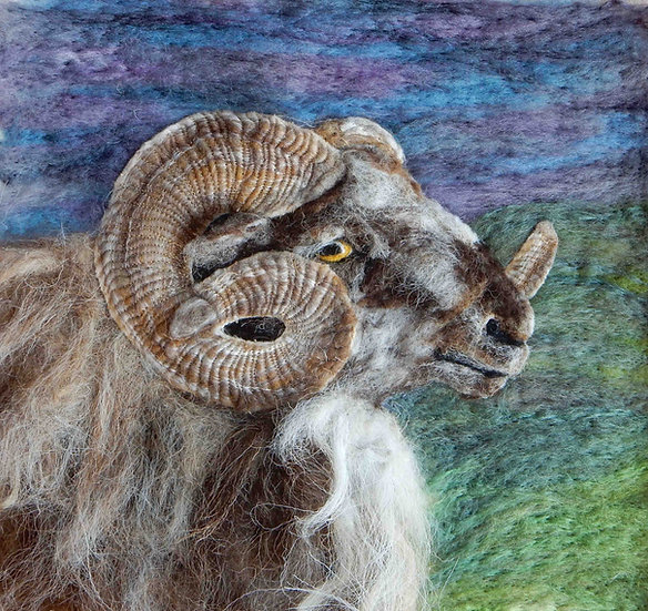Fibre art Boreray ram portrait