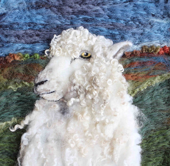 Leicester Longwool fibre art sheep portrait