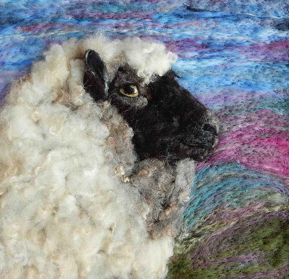 Llanwenog fibre art sheep portrait