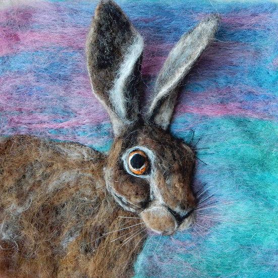 Fibre art hare portrait