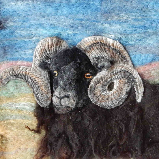 Fibre art Hebridean ram portrait