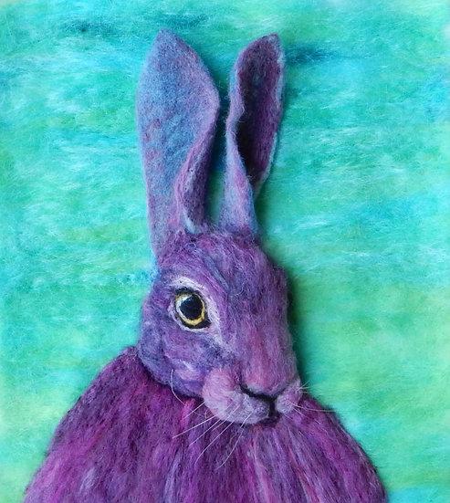 Multicoloured fibre art hare