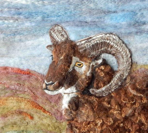 Soay sheep fibre art portrait