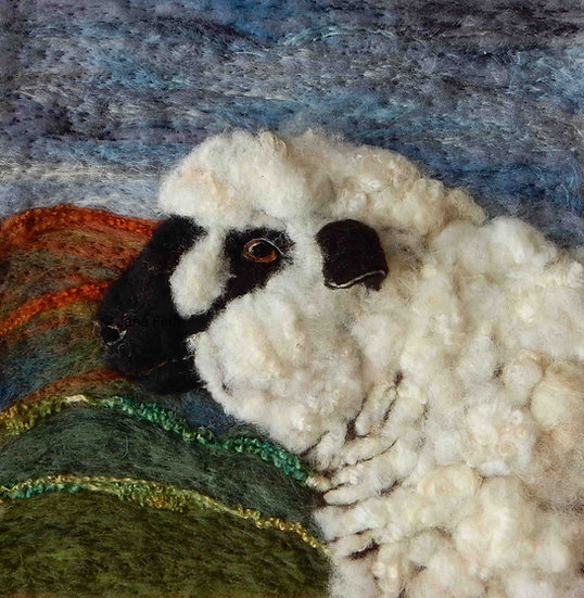 Hampshire Down fibre art sheep portrait