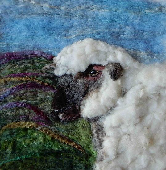 Dorset Down fibre art sheep portrait