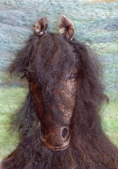 Jenny the Fell pony, fibre art portrait