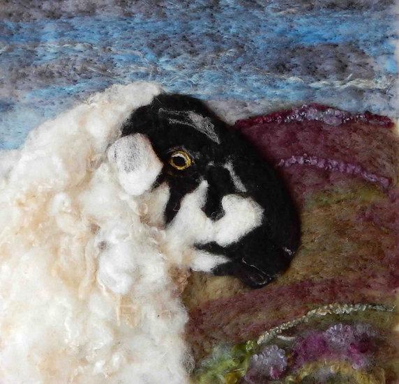 Derbyshire Gritstone fibre art sheep portrait