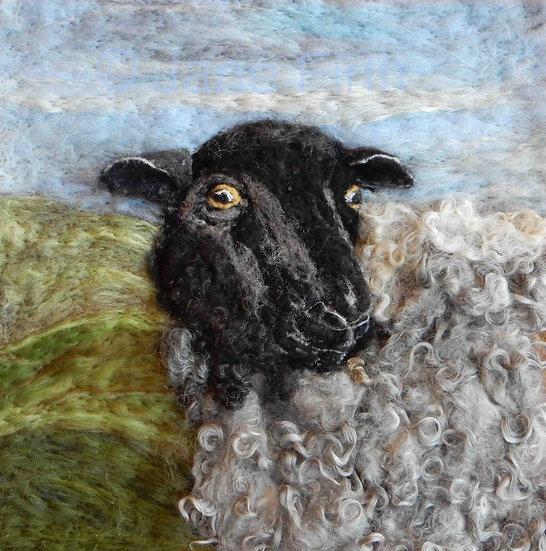 Gotland fibre art sheep portrait