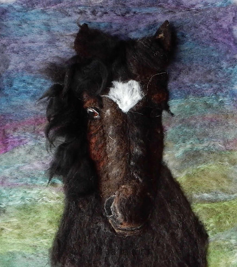 Felt art portrait of Iris the Cumbrian Fell pony
