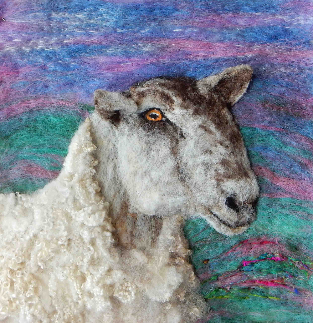 Bluefaced Leicester ram, photographed locally and needle felted with local Bluefaced Leicester wool